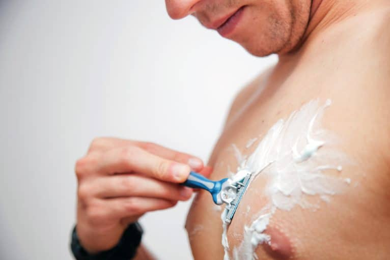 Using shaving cream is an effective way on how to get rid of chest acne.