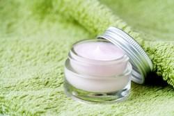 Light pink moisture in little glass jar