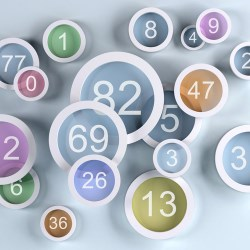 background colored lens with numbers, 3d illustration