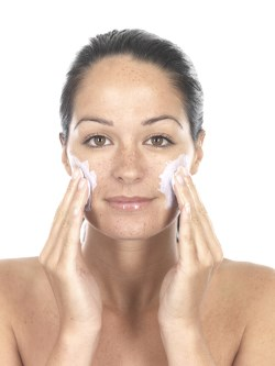 Woman Exfoliating . Model Released