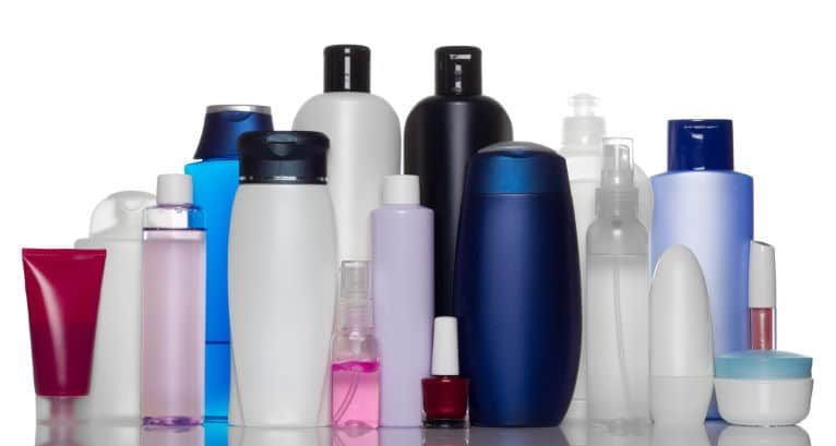 Different containers of skincare and hygiene products